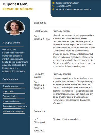 Exemple CV femme de ménage