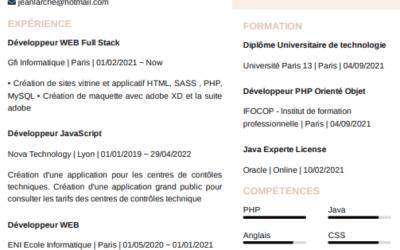 Un exemple de CV pour un développeur web